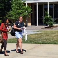 Debra Schleef (Right) Gathers With Faculty To Meet And Discuss Potential Courses On Friday, June 10 In Front Of Ramsey Library.
