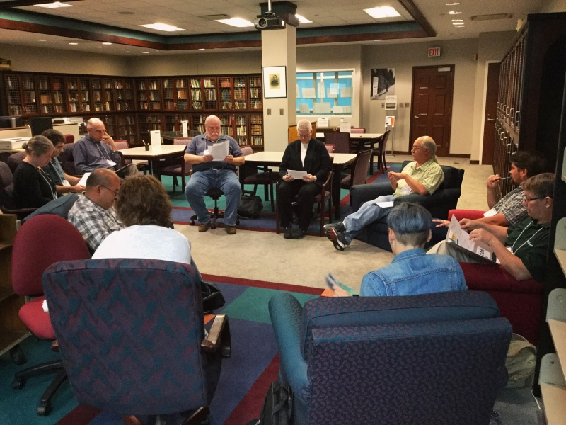 Gene Hyde (green shirt), Head of UNC Asheville Special Collections & University Archives, leads archivist breakout session on digitization, copyrights and special collections on Friday, June 10 in Ramsey Library.